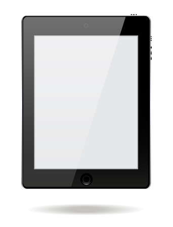 palmtop: Black Business touch screen tablet with buttons and front camera on white background vector illustration