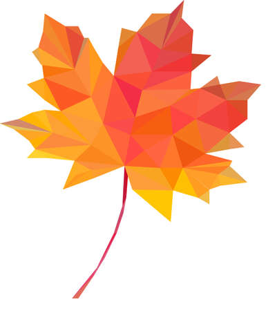 maple tree: low-poly polygon red autumn maple leaves
