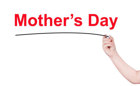 mothersday: Mothers day word write on white background by woman hand holding highlighter pen Stock Photo