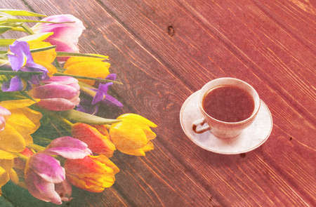 purple  love: Retro Tulips and a card on a wooden background Stock Photo