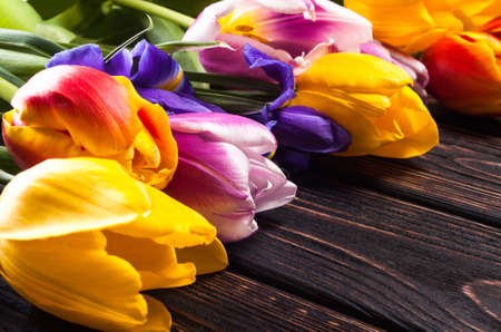 beauty background: Bouquet tulip on wood background