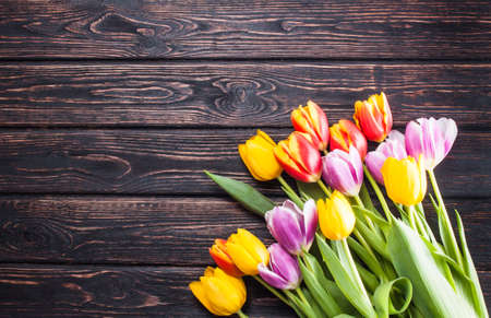 pink vintage background: Bouquet tulip on wood background