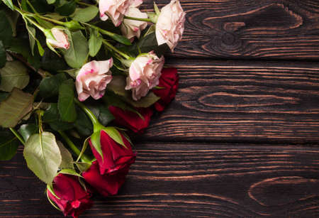beautiful anniversary: Beautiful bouquet of roses on table close-up