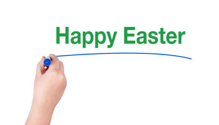 highlighter pen: Happy easter word write on white background by woman hand holding highlighter pen Stock Photo