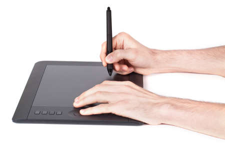 digitizer: Graphic tablet, hand and feather isolated on white