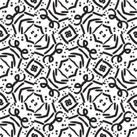 abstract seamless pattern ethnique noir et blanc Vecteurs