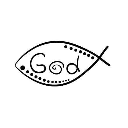 ictus: christian fish symbol with cross. Vector fish