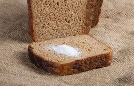 whole grain: whole grain bread isolated on sack cloth