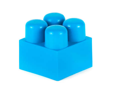 connection block: plastic constructor on white background. Toy for Child