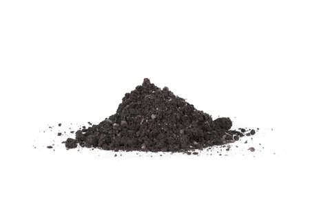 earth handful: A pile of soil on a white background