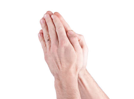 reverent: Hands praying man on a white background Stock Photo