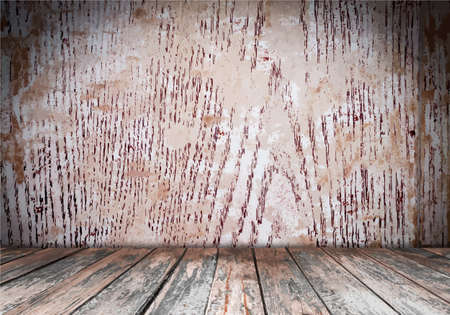 rubble: Vector room interior vintage with wood floor background