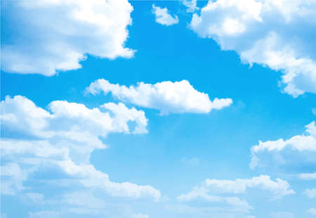 descriptive: Background with blue sky and clouds. Vector. Illustration