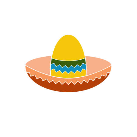 brimmed: Mexican hat colorful flat icon for apps and websites