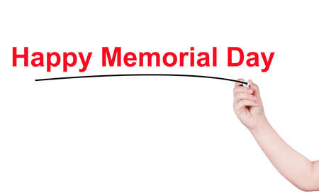highlighter pen: Happy Memorial Day word write on white background by woman hand holding highlighter pen