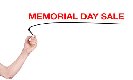 memorial day sale word write on white background by men hand stock