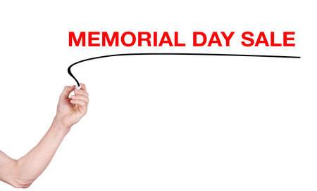 highlighter pen: Memorial Day Sale word write on white background by men hand holding highlighter pen