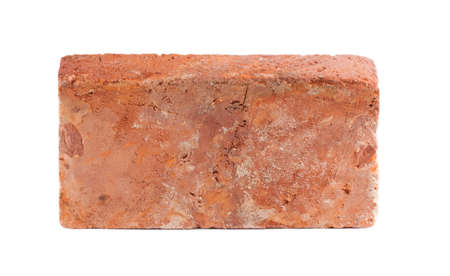 one object: Old red brick isolated on white background