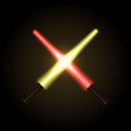 Glowing swords on a black background. Illustration