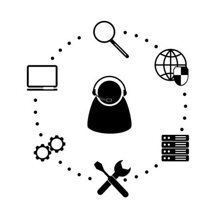 administrator: Flat icon system administrator. Illustration