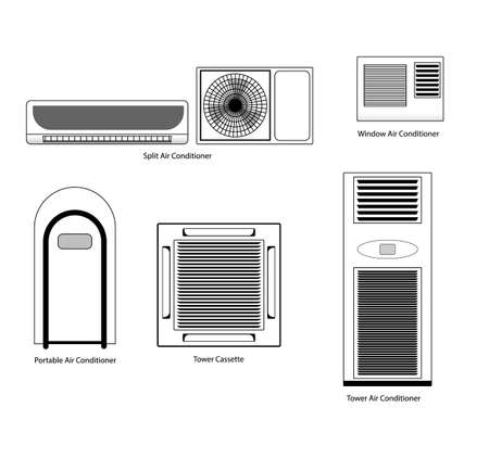 coolness: Types of air conditioners icons set vector stock. Conditioners black icons on white background isolated.