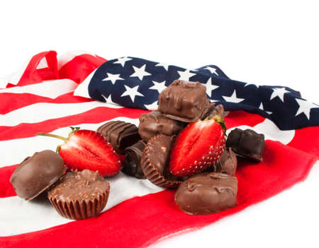 chocolate candy: Chocolate candy on American flag.