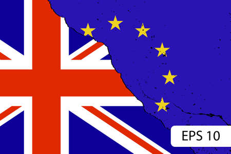 skepticism: Brexit. Blue european flag on broken wall and half great britain flag, vote for united kingdom exit concept