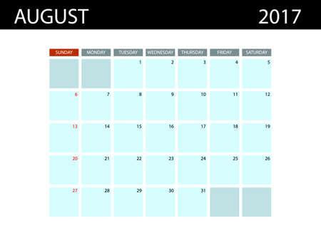 Calendar Templates For August 2017 Week Starts Sunday Summer
