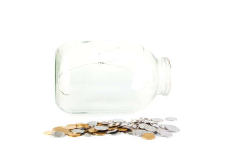 dime: broken jar and the jar of coins on a white background. savings concept Stock Photo