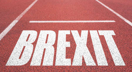jack tar: Concept of BREXIT, UK United Kingdom versus EU EUROPEAN UNION written over tarmac