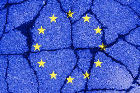 pared rota: brexit blue european union EU flag on broken wall and half great britain flag