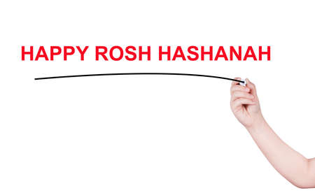 rosh: Happy rosh hashanah word write on white background by woman hand holding highlighter pen