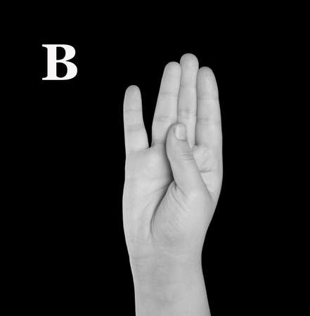 asl: The Letter B. Finger Spelling the Alphabet in American Sign Language (ASL).