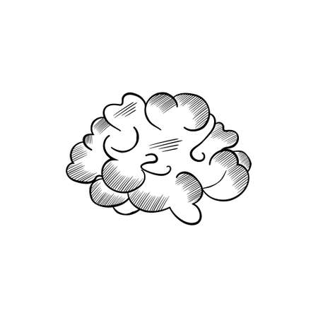 Vector black and white sketch of the brain on white background Illustration