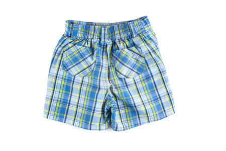 Children plaid shorts isolated on white background.