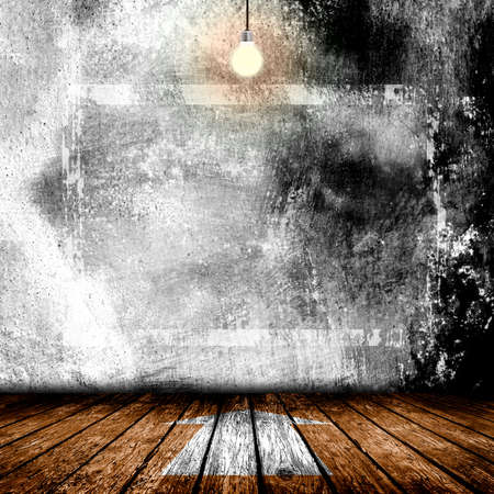 room for your text: 3D illustration. Hanging Light Bulb in the Empty Concrete Room Interior with place for Your Text Stock Photo