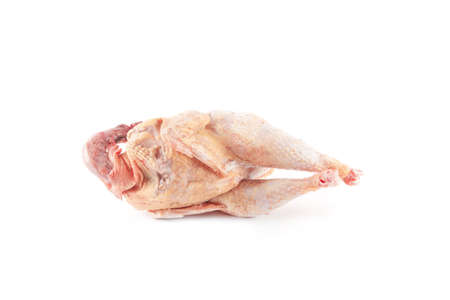 pollo rostizado: Chicken carcass isolated on white background. Food ingredient. Cooking