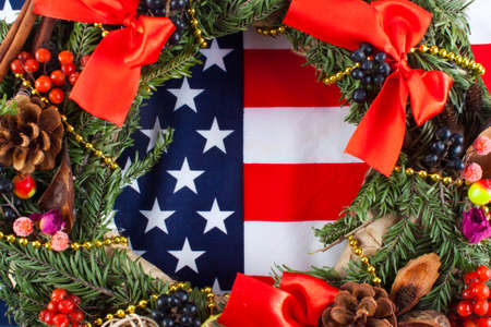 American flag and christmas tree. Greeting card
