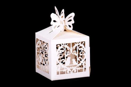 decor: White decor paper box isolated. Decor elements.