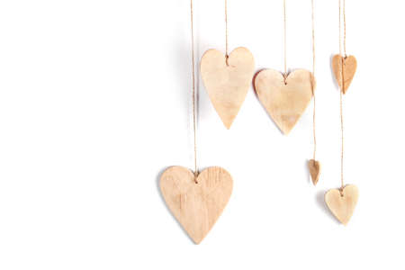 Wood hearts on isolated on white background.  Valentines day background. Stock Photo
