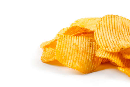 ridged: Potato chips grooved isolated on white background Stock Photo