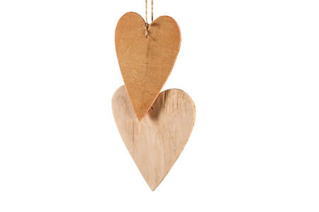 Wood hearts isolated on white. Valentines day.