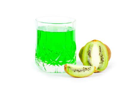 Fresh green kiwi close up. Food. Fruits background Stock Photo