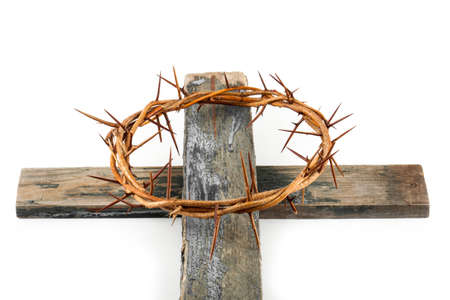 Crown of thorns and cross isolated on white background Stock Photo