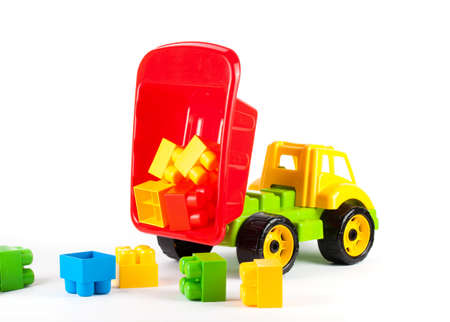 Color toy car. Isolated on white background