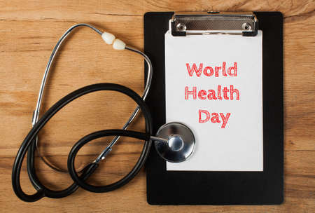 World health day background with stethoscope. Medical equipment