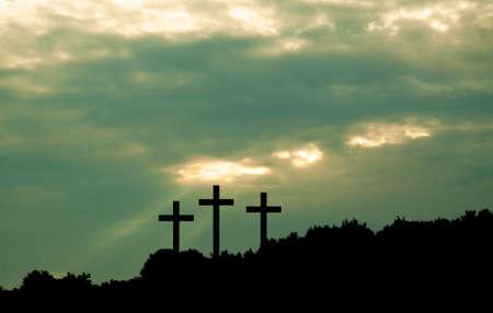 Three cross on sky background. Religion concept Stock Photo