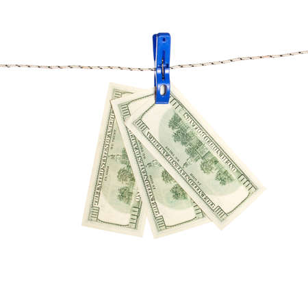 Dollar banknote on rope. Business concept. American Dollars Cash Money