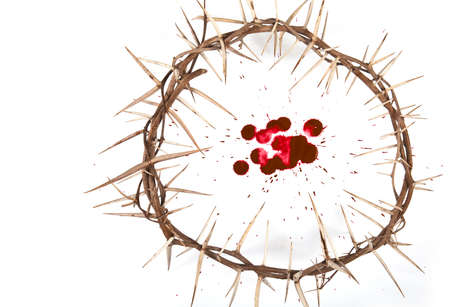 Crown of thorns with blood isolated on white background