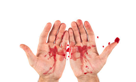 Hand with blood and crown of thorns on white background Stock Photo